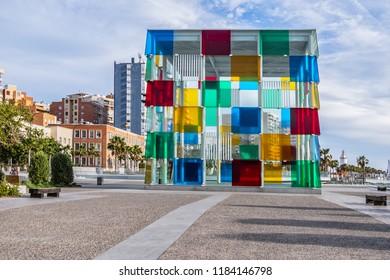 MALAGA, SPAIN - JUNE 3, 2018: Malaga Pompidou center. Malaga Pompidou center opened on 28 March 2015, Pop-Up Pompidou is housed in El Cubo - a cuboids glass structure in Malaga port.