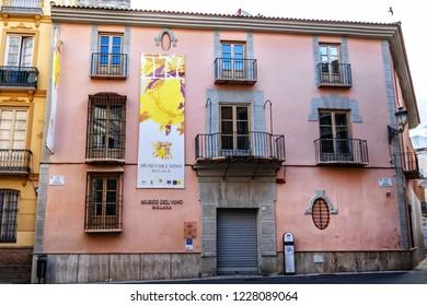 MALAGA, SPAIN - JUNE 3, 2018: Malaga Wine Museum (Museo del Vino Malaga). Wine museum is housed in the 18th-century Palacio de Biedmas, located in the city centre.