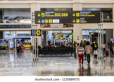 MALAGA, SPAIN - JUNE 8, 2018: Interior of international Malaga Airport (Aeropuerto de Malaga-Costa Del Sol). Malaga Airport is one of the oldest Spanish airports.