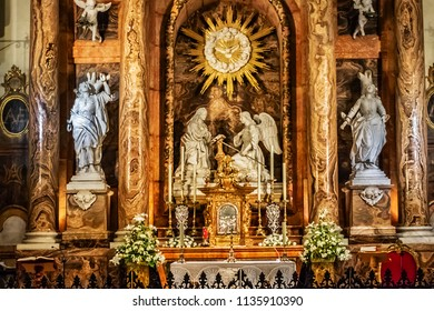 MALAGA, SPAIN - JUNE 8, 2018: Interior of Malaga Cathedral. Renaissance Cathedral - Roman Catholic Church in city of Malaga, was constructed between 1528 and 1782.