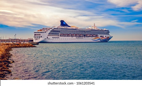 Malaga, Spain - March 23, 2018. The beautiful cruise ship Norwegian Spirit in Malaga Port, Spain.
