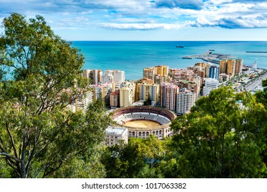 Malaga, Spain - March 5, 2017: Malagueta,  the corrida (bullring) bullfighting stadium in Plaza de Torros.