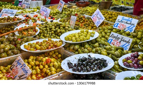 Malaga, Spain - May 05, 2018. Olive stand at the market of Ataranzanas Central Market, Malaga, Spain