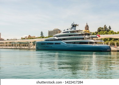 Malaga/ Spain. May 14. 2017. Aviva mega yacht, owned by British billionaire businessman Joe Lewis, moored in the port of Malaga,