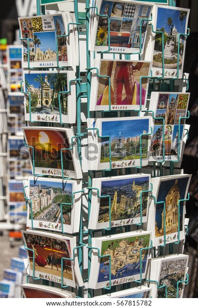 Malaga Spain May 2015 Tourist Postcards Stock Photo (Edit