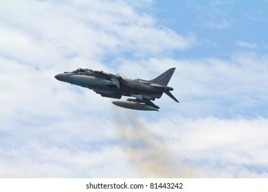MALAGA, SPAIN - MAY 28: Harrier II Plus jet takes off at Malagueta Beach during the Spanish Armed Forces Day on May 28, 2011 in Malaga, Spain.
