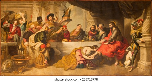MALAGA, SPAIN - MAY 31, 2015: The supper of Jesus by Simon the Pharisee in Cathedral by Miguel Manrique from 17. cent.