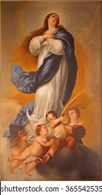 MALAGA, SPAIN - MAY 31, 2015: The painting of Immaculate Conception of Virgin Mary in Iglesia del Santiago Apostol church by D. K. Blanco from 18. cent.