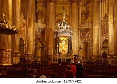 MALAGA, SPAIN - NOV 24, 2018 - Main altar of the Cathedral of Malaga, Spain