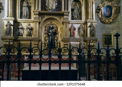 MALAGA, SPAIN - NOV 24, 2018 - Chapel of Saint Francis in the Cathedral of Malaga, Spain