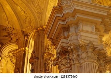 MALAGA, SPAIN - NOV 24, 2018 - Baroque Corinthian columns of the Cathedral of Malaga, Spain