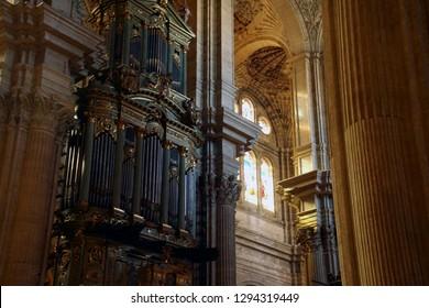 MALAGA, SPAIN - NOV 24, 2018 - Pipe organ of the Cathedral of Malaga, Spain