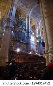 MALAGA, SPAIN - NOV 24, 2018 - Baroque columns and ceiling of the Cathedral of Malaga, Spain