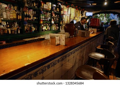 MALAGA, SPAIN - NOV 24, 2018 - Bar in a winery in Malaga, Spain