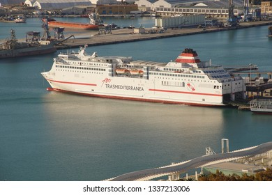 MALAGA, SPAIN - NOV 24, 2018 - Ferry in the harbor of Malaga, Spain