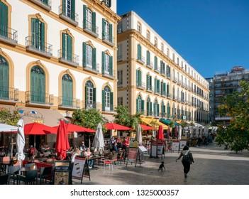 MALAGA, SPAIN- NOVEMBER 2019: Terrace bar, historic center street, square, plaza merced.Malaga, Spain.