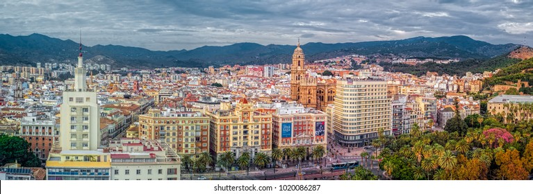 Malaga, Spain - November 25, 2017. Panoramic view over the Malaga city, Costa del sol, Spain.
