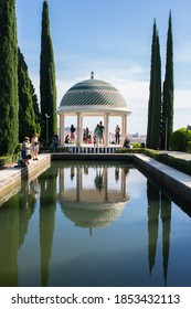 Malaga, Spain - Oct 10, 2020: Mirador, historic viewpoint and symbol of Botanical Garden (Jardin Botanico La Concepcion) in Malaga. One of the few gardens with subtropical climate plants in Europe.