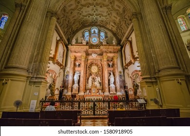 MALAGA, SPAIN - OCTOBER, 2019: view of interiors detail of The Cathedral. Renaissance church with interior gothic and neoclassical art pieces.