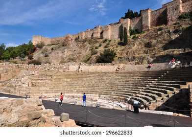 MALAGA, SPAIN - OCTOBER 4: Ancient Roman Theatre near Malaga Alcazaba castle on Gibralfaro mountain on October 4, 2014 in Andalusia, Spain. The place is declared UNESCO World Heritage Site