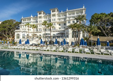 Malaga, Spain on 25th Mar 2019: The Gran Hotel Miramar is a 5 star hotel and spa on the sea front of Malaga on the Costa Del sol. It is part of the Santos group of hotels whcih are Spanish based