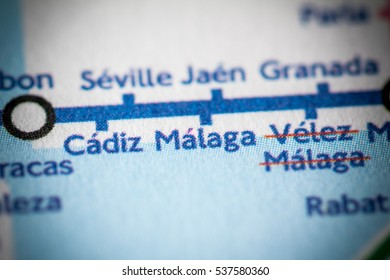 Malaga, Spain on a geographical map.