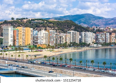 Malaga, Spain resort skyline at Malagueta Beach.