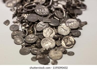Malaga, Spain - Sept 21th, 2018: Hoard of Cerro Colorado, oldest coins ever made in iberia. Malaga Museum, Spain