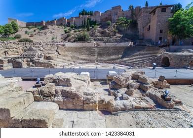 Malaga, Spain - Sept 23th 2019: Roman Theater of Malaga and Moslim Alcazaba, Andalusia, Spain