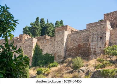 MALAGA, SPAIN - September 17, 2017: Old medieval castle walls