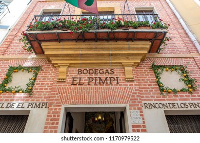 MALAGA, SPAIN - September 2nd, 2018: Facade of the famous restaurant El Pimpi, in the city center of Malaga, Spain.