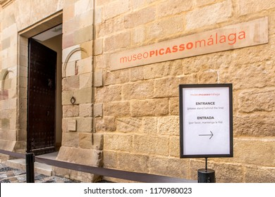 MALAGA, SPAIN - September 2nd, 2018: Picasso Museum entrance, located in an old classic palace in the city of Malaga, Spain.