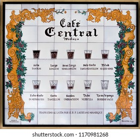 MALAGA, SPAIN - September 2nd, 2018: Tile board with different coffee for sell in a classic and popular coffee shop in the city of Malaga, Spain.