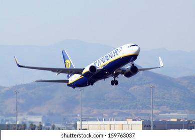 MALAGA, SPAIN - SEPTEMBER 4, 2010 - Ryanair Boeing 737-800 taking off from Malaga airport, Malaga, Spain September 4, 2010.