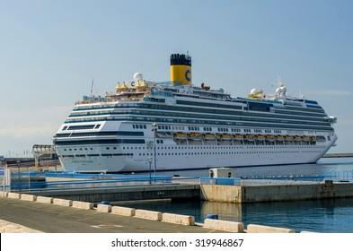 MALAGA, SPAIN - SEPTEMBER 8: Cruise ship COSTA FAVOLOSA moored in MALAGA on september 9, 2015 in Malaga, Spain.