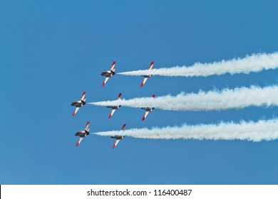 MALAGA, SPAIN-MAY 28: Aircrafts of the Patrulla Aguila taking part in an exhibition on the day of the spanish army forces on May 28, 2011, in Malaga, Spain