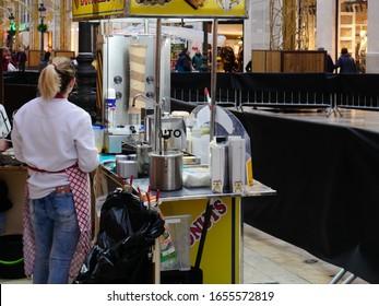 Malaga/Spain - 02-21-2020 : street vendors at an outdoor public event