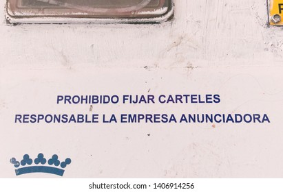 Malaga/Spain - 05-24-2019 : sign in Spanish saying no junk mail in the building, the company advertising will be held responsible.