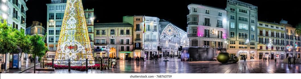 Malaga,Spain. 25 th November 2017. Panoramic view of main square on Christmas in Malaga.