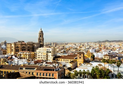 MALAGA,SPAIN - December 17,2015 - Cityscape View at The Cathedral of Malaga,,Renaissance church in the city of Malaga in southern of Spain