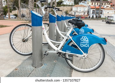 Malaga,Spain on 24th Mar 2019:Malaga Bici is a city-bicycle rental service that was founded by EMT (the official transportation company), the local government and Cemusa (a media company).