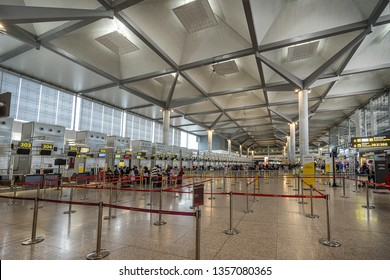 Malaga,Spain on 26th Mar 2019:Malaga Costa Del Sol Airport It is an important airport for Spanish tourism as it is the main international airport serving the Costa del Sol with three terminals