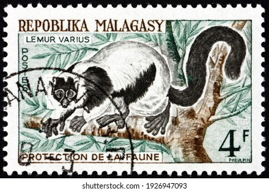MALAGASY - CIRCA 1961: a stamp printed in Malagasy, Madagascar shows ruffed lemur, lemur varius, are the largest extant lemurs found only on the island of Madagascar, circa 1961