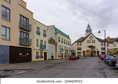 Malahid, Ireland - February 3, 2017: Homes and low-rise apartment buildings on Marina Village in Malahide in Ireland