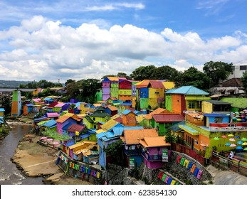 Malang, April 2017. The Colorful Houses of Kampung Warna Warni in Jodipan Village, Malang