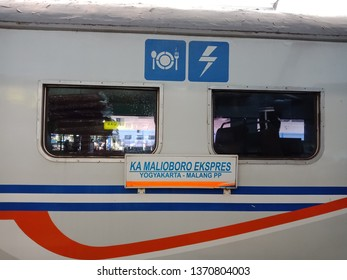 Malang, East Java - Indonesia. 04 15 2019. The Malioboro Express train carriages destination from Malang to Jogjakarta or Jogjakarta to Malang.
