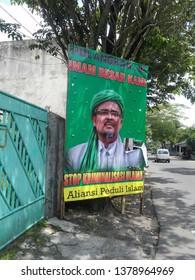 Malang, East Java / Indonesia - April 17 2019 : Billboards Habib Rizieq Shihab, leader of the Islamic Defenders Front