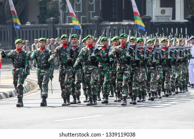 Malang, East Java / Indonesia - August 17 2016 : Indonesian Army during the independence day ceremony.