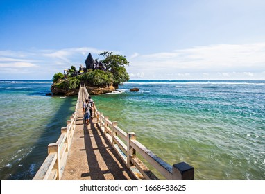 Malang, East Java, Indonesia : A  hinduism temple in a small island in Bale Kambang beach, a tourist destination in Southern Malang, East Java, Indonesia (02/2020).