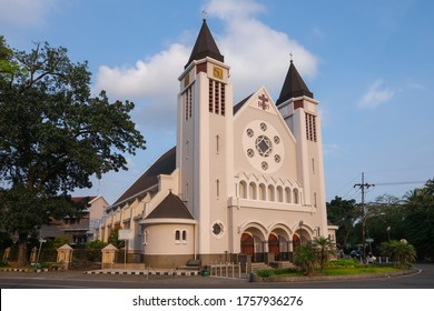 Malang, East Java / Indonesia - June 17 2020: Cathedral of the Blessed Virgin Mary of Mount Carmel is a Roman Catholic cathedral in Malang, East Java, Indonesia and the throne of the Diocese of Malang